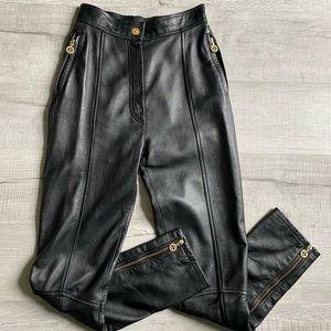 Rare❣️Chanel CC zipper high waist leather pants